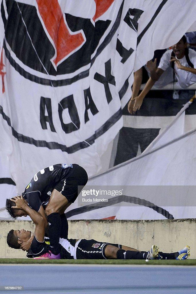 Romario and Bernardo of Vasco celebrate ascored goal against Fluminense during the match between Fluminense and Vasco as part of Carioca Championship...