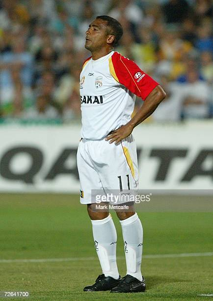 Romario of Adelaide looks dejected after missing a chance during the round fourteen Hyundai ALeague match between the Central Coast Mariners and...