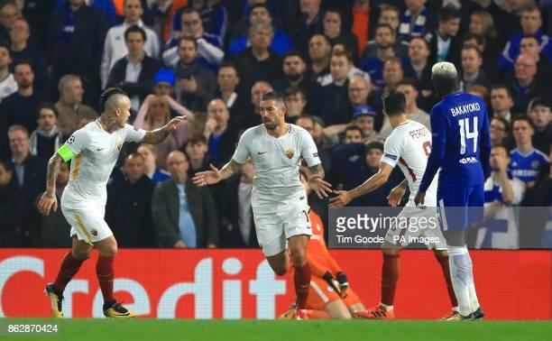 Roma's Aleksandar Kolarov celebrates scoring his side's first goal of the game during the UEFA Champions League Group C match at Stamford Bridge...