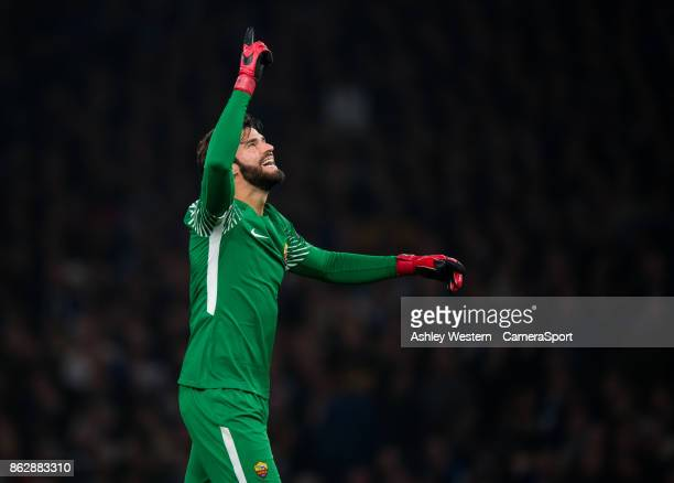 Roma's Alisson Becker celebrates Edin Dzeko's 2nd goal during the UEFA Champions League group C match between Chelsea FC and AS Roma at Stamford...