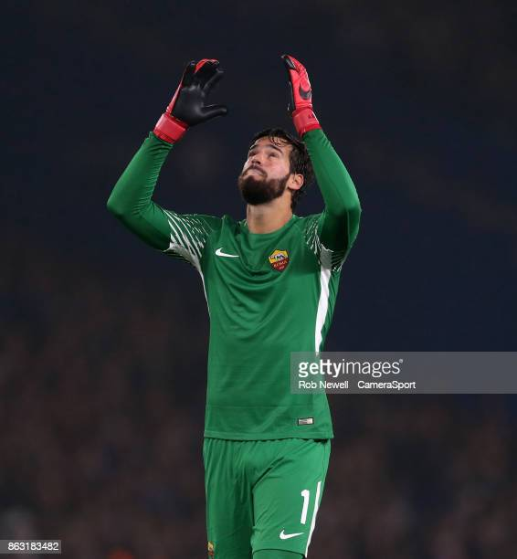 Roma's Alisson Becker during the UEFA Champions League group C match between Chelsea FC and AS Roma at Stamford Bridge on October 18 2017 in London...