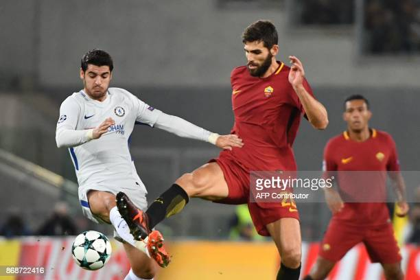 Roma's Argentinian defender Federico Fazio vies with Chelsea's Spanish striker Alvaro Morata during the UEFA Champions League football match AS Roma...