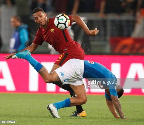 OLIMPICO ROME LAZIO ITALY Roma's Brazilian defender Juan Jesus fights for the ball with Napoli's Brazilian midfielder Allan during the Italian Serie...
