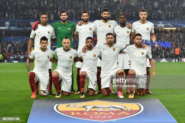 Roma's Brazilian goalkeeper Alisson Roma's Belgian midfielder Radja Nainggolan Roma's Brazilian defender Juan Jesus Roma's Dutch midfielder Kevin...