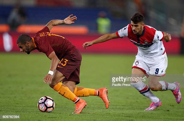 Roma's Bruno Peres left was chased by Crotone's Andrea Nalini during the Serie A soccer match between Roma and Crotone at the Olympic stadium Roma...