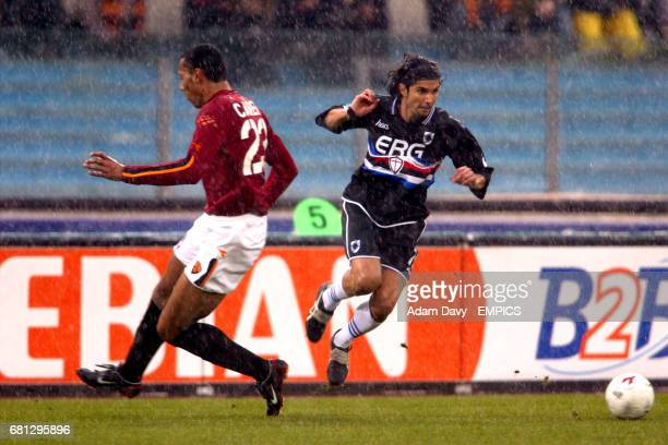 Roma's Cafu and Sampdoria's Stefano Sacchetti battle for the ball