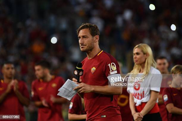 AS Roma's captain Francesco Totti delivers a speech during a ceremony following his last match with AS Roma after the Italian Serie A football match...