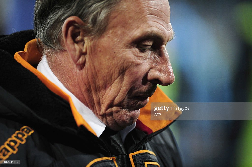 Roma's coach Czech Zdenek Zeman reacts at the end of the Serie A football match SSC Napoli vs AS Roma in San Paolo Stadium on January 6, 2013 in Naples. HERMANN