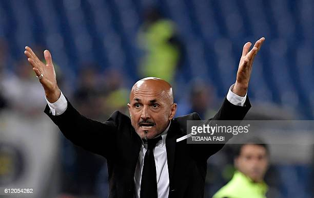AS Roma's coach from Italy Luciano Spalletti reacts during the Italian Serie A football match AS Roma vs Inter Milan at Olympic Stadium in Rome on...