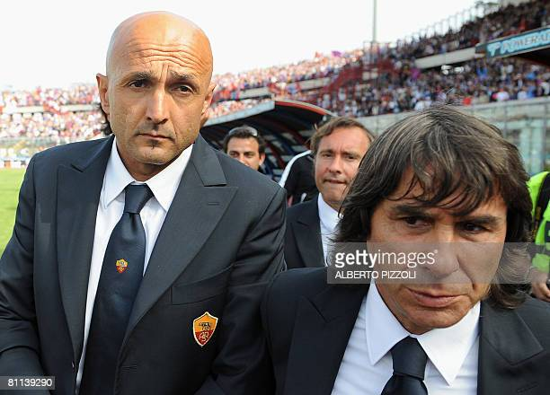 AS Roma's coach Lucianno Spalletti and Roma's technical director Bruno Conti leaves the field at the end of their team's Italian serie A football...