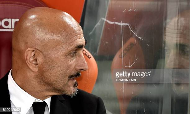 AS Roma's coach Luciano Spalletti looks on before the Italian Serie A football match AS Roma vs Inter Milan at the Olympic Stadium in Rome on October...