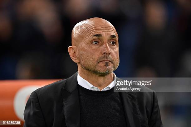Roma's coach Luciano Spalletti looks on during the Serie A football match between AS Roma and FC Internazionale Milano at Stadio Olimpico on March 19...