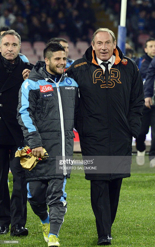 A.S. Roma's coach Zdenek Zeman (R) smiles next to SSC Napoli's forward Lorenzo Insigni before the start of the Serie A football match SSC Napoli vs A.S. Roma at San Paolo Stadium in Naples on January 6, 2013.