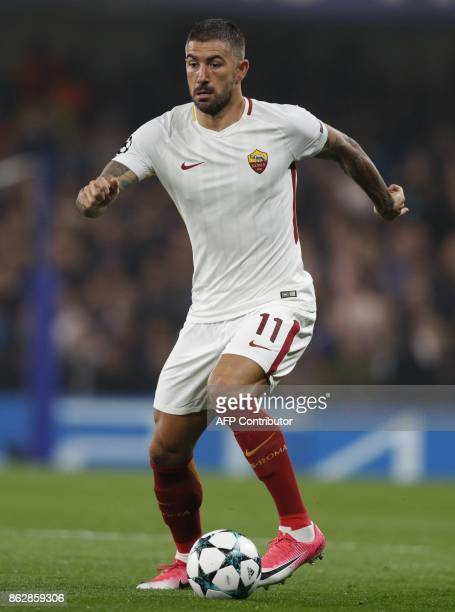 Roma's Croatian defender Aleksandar Kolarov controls the ball during a UEFA Champions league group stage football match between Chelsea and Roma at...