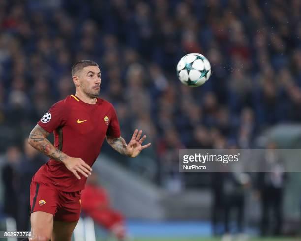 Roma's Croatian defender Aleksandar Kolarov during the UEFA Champions League football match AS Roma vs Chelsea on October 31 2017 at the Olympic...