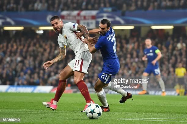 Roma's Croatian defender Aleksandar Kolarov vies with Chelsea's Italian defender Davide Zappacosta during a UEFA Champions league group stage...