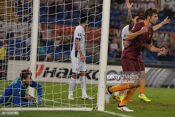 AS Roma's defender from Argentina Federico Fazio celebrates after scoring during the UEFA Europa League football match AS Roma vs Astra at Rome's...