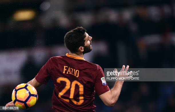 Roma's defender from Argentina Federico Fazio jumps to head the ball during the Italian Serie A football match Roma vs Fiorentina at the Olympic...