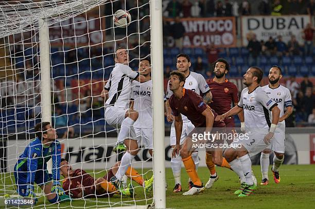 AS Roma's defender from Argentina Federico Fazio scores during the UEFA Europa League football match AS Roma vs Astra at Rome's Olympic stadium on...