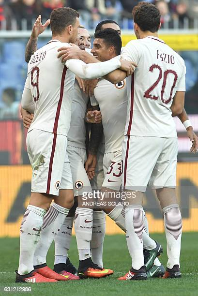 AS Roma's defender from Brazil Bruno Peres celebrates after scoring during the Italian Serie A football match Genoa vs Roma on January 8 2017 at...