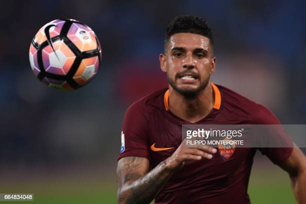 Roma's defender from Brazil Emerson Palmieri eyes the ball during the Italian Tim Cup second leg semifinal football match AS Roma vs Lazio on April 4...