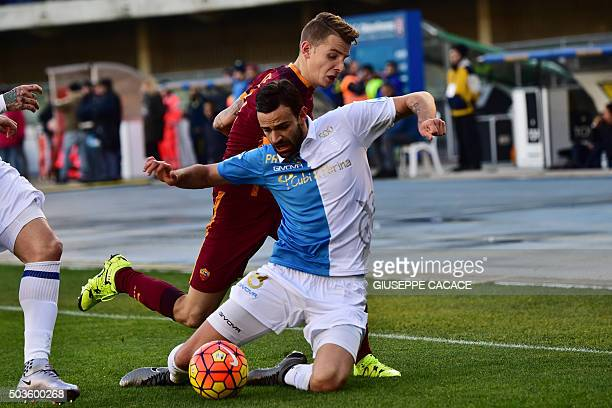 Roma's defender from England Lucas Digne fights for the ball with Chievo's midfielder from Serbia Ivan Radovanovic during the Italian Serie A...