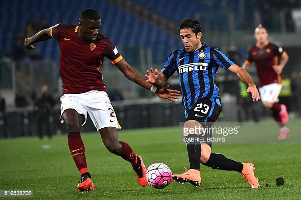 Roma's defender from Germany Antonio Rudiger vies with Inter Milan's defender from Italy Eder Citadin Martins during the Italian Serie A football...