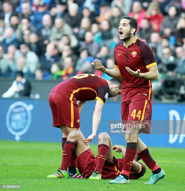 Roma's defender Konstantinos Manolas gestures during the Italian Serie A football match between Udinese Calcio v AS Roma Roma beats Udinese 21 in the...