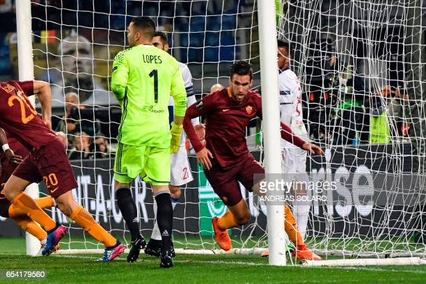 AS Roma's Dutch midfielder Kevin Strootman celebrates after scoring a goal during the Europa League Round of 16 return football match between Roma...