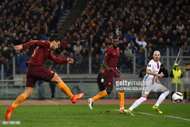 AS Roma's Dutch midfielder Kevin Strootman kicks the ball during the Europa League Round of 16 second leg football match Roma vs Lyon at the Olympic...