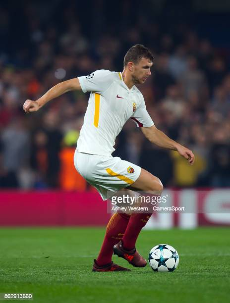 Roma's Edin Dzeko in action during the UEFA Champions League group C match between Chelsea FC and AS Roma at Stamford Bridge on October 18 2017 in...