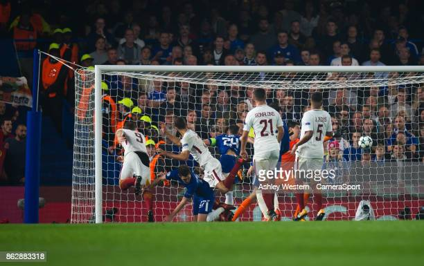 Roma's Edin Dzeko scores his side's third goal during the UEFA Champions League group C match between Chelsea FC and AS Roma at Stamford Bridge on...