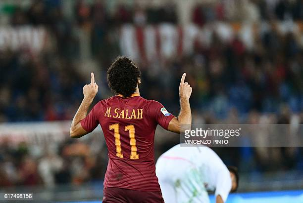 AS Roma's Egyptian forward Mohamed Salah celebrates after scoring against Palermo during their Serie A football match AS Roma vs Palermo at the...