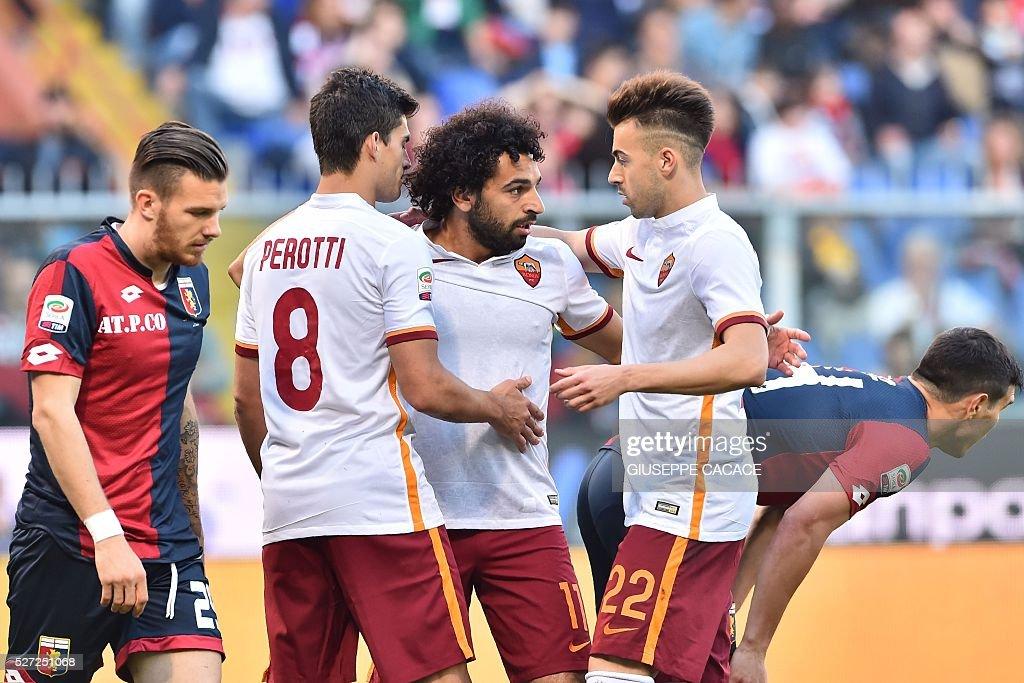 Roma's Egyptian midfielder Mohamed Salah celebrates with Roma's Argentinian forward Diego Perotti and Roma's Italian forward Stephan El Shaarawy...