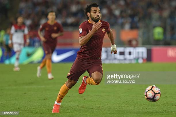 AS Roma's Egyptian midfielder Mohamed Salah controls the ball during the Italian Serie A football match AS Roma vs Crotone on September 21 2016 at...