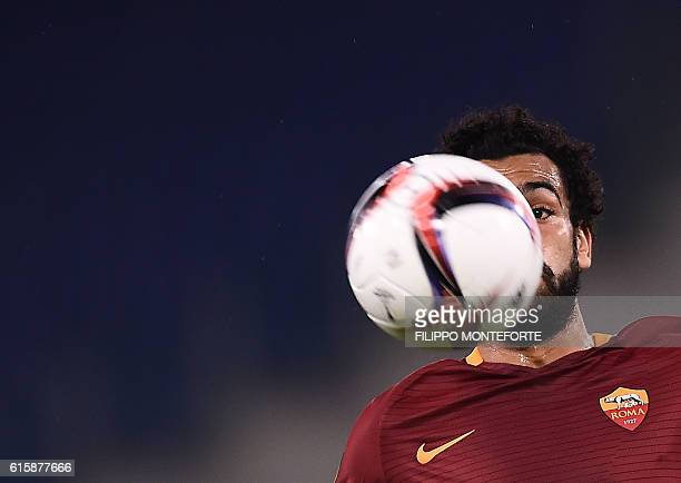 TOPSHOT Roma's Egyptian midfielder Mohamed Salah eyes the ball during the Europa League Group E football match between Roma and Austria Wien at the...