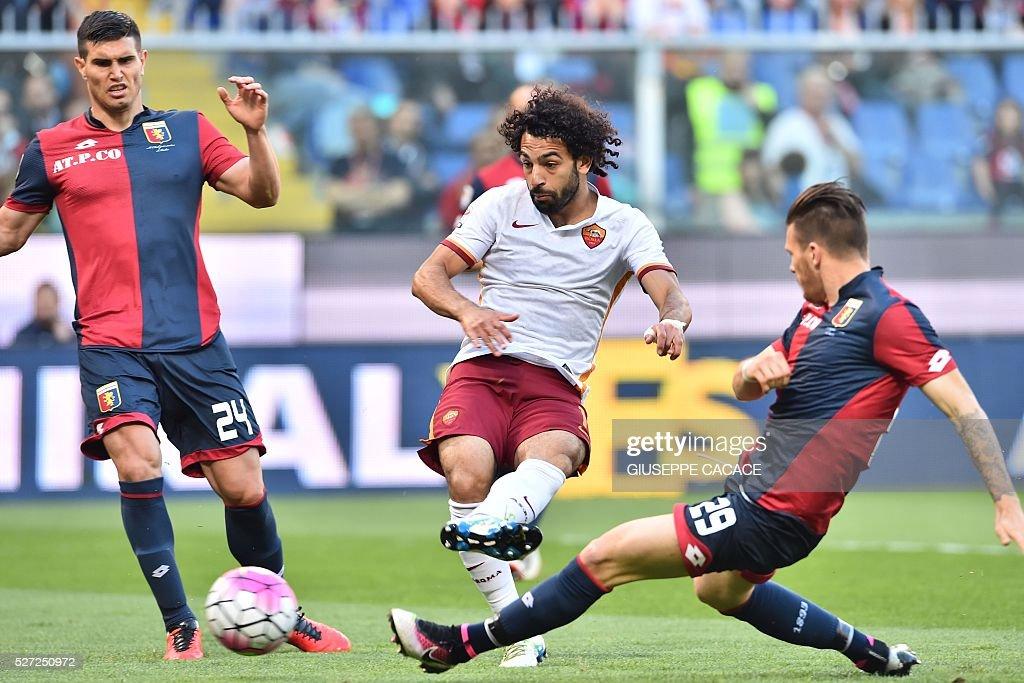 Roma's Egyptian midfielder Mohamed Salah kick to score during the Italian Serie A football match between Genoa and AS Roma at Luigi Ferraris Stadium...