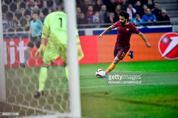 Romas Egyptian midfielder Mohammed Salah runs towards the goal during the Europa League round of 16 first leg football match between Lyon and AS Roma...