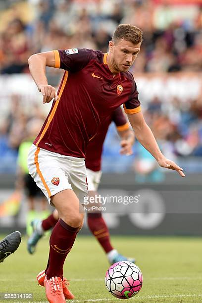 Roma's forward Edin Dzeko during the Italian Serie A match between AS Roma and FC Carpi at Stadio Olimpico in Rome on September 26 2015