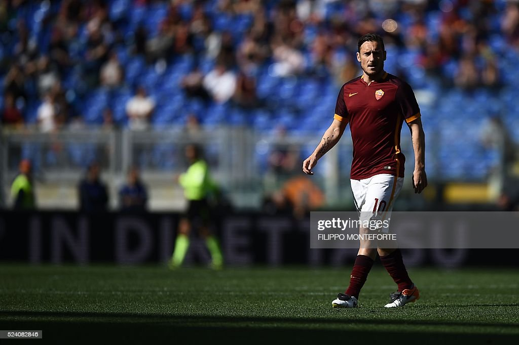 Roma's forward Francesco Totti walks during the Italian Serie A football match AS Roma vs Napoli on April 25, 2016 at the Olympic Stadium in Rome.