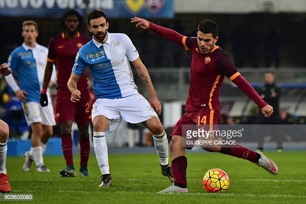 Roma's forward from Spain Iago Falque kicks to score during the Italian Serie A football match between Chievo Verona and AS Roma at Bentegodi Stadium...