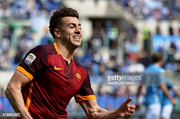AS Roma's forward Stephan El Shaarawy celebrates after scoring during the Italian Serie A football match Lazio vs AS Roma at the Olympic stadium in...