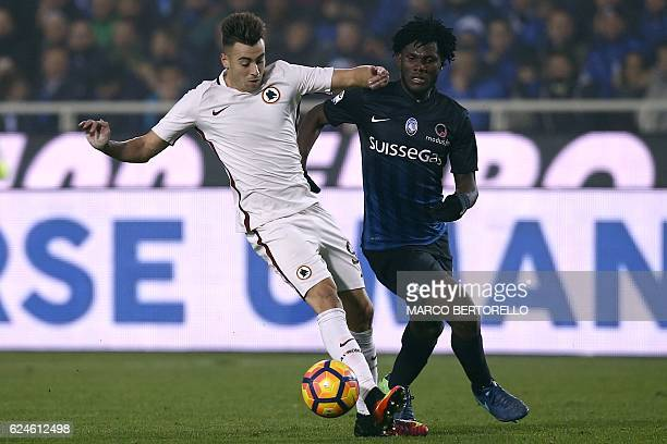 AS Roma's forward Stephan El Shaarawy fights for the ball with Atalanta's midfielder Franck Kessie of Ivory Coast during the Italian Serie A football...
