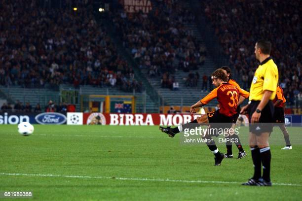 Roma's Gabriel Batistuta takes a long range free kick