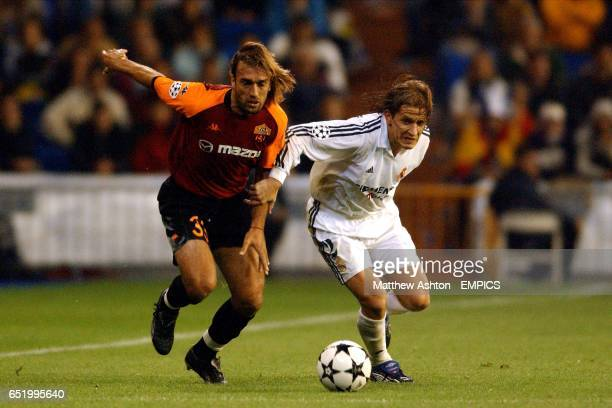 AS Roma's Gabriel Batistuta takes on Real Madrid's Michel Salgado