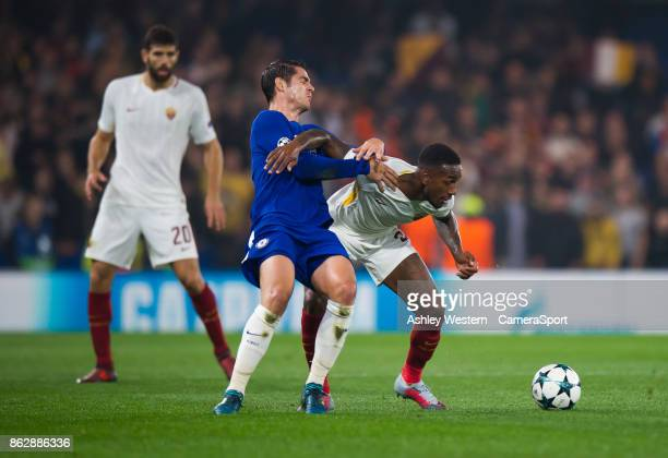 Roma's Gerson holds off the challenge from Chelsea's Alvaro Morata during the UEFA Champions League group C match between Chelsea FC and AS Roma at...