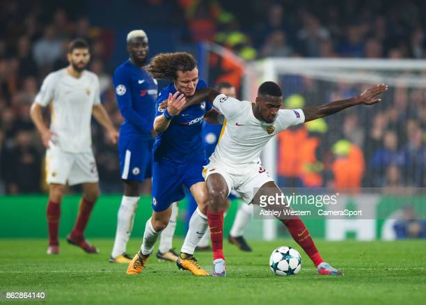 Roma's Gerson holds off the challenge from Chelsea's David Luiz during the UEFA Champions League group C match between Chelsea FC and AS Roma at...