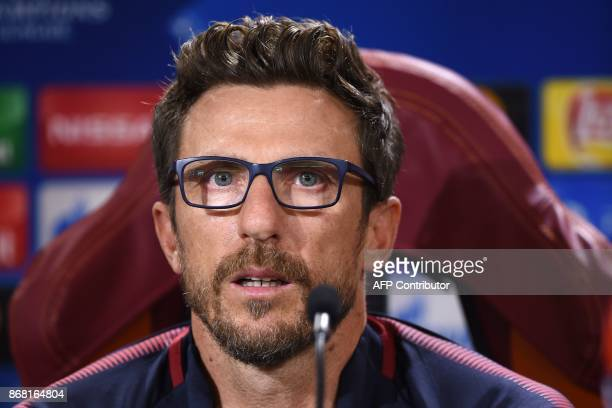 AS Roma's headcoach Eusebio Di Francesco attends a press conference on the eve of the UEFA Champions League football match AS Roma vs Chelsea on...