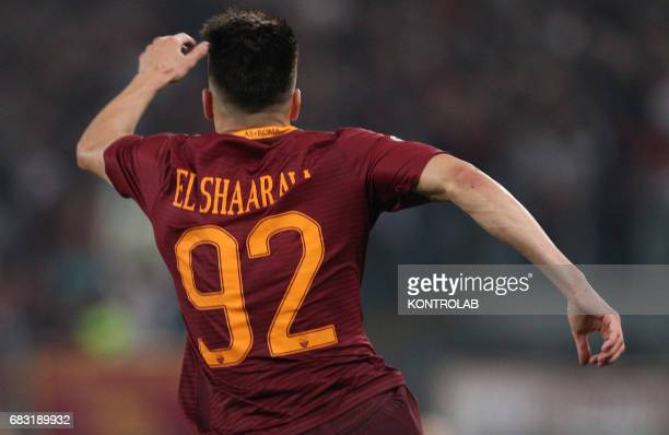 Roma's Italian forward Stephan El Shaarawy celebrates after scoring during the Italian Serie A football match AS Roma vs Juventus FC at the Olimpico...
