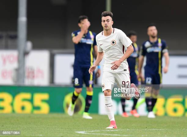 AS Roma's Italian forward Stephan El Shaarawy celebrates after scoring during the Italian Serie A football match Chievo vs AS Roma at the Marcantonio...